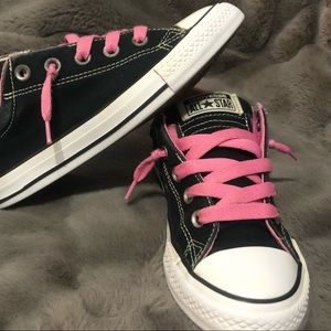 Pink on Black Girls Converse
